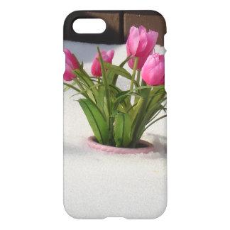 Tulipanes del invierno en tormenta de la nieve funda para iPhone 7