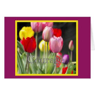 Tulipanes del valor, para el enfermo de cáncer tarjeta de felicitación
