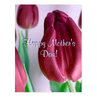 Tulipanes felices de Rosey del día de madre Postal