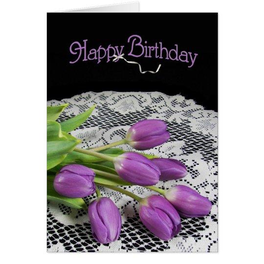 Tulipanes púrpuras tarjeta de felicitación