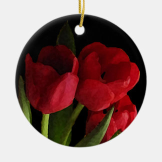 Tulipanes rojos adorno redondo de cerámica