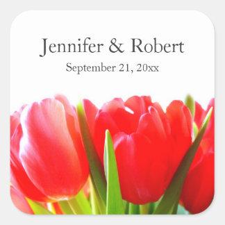Tulipanes rojos que casan al pegatina