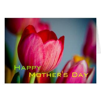 Tulipanes rojos • Tarjeta feliz del día de madre