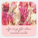tulipanes rosados del jardín - vela o etiqueta