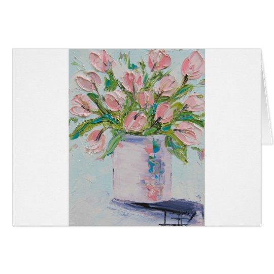 Tulipanes rosados que pintan, arte del tulipán, tarjeta de felicitación