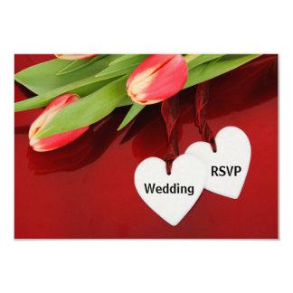 Tulipanes y corazones que casan la tarjeta de RSVP Invitación 8,9 X 12,7 Cm
