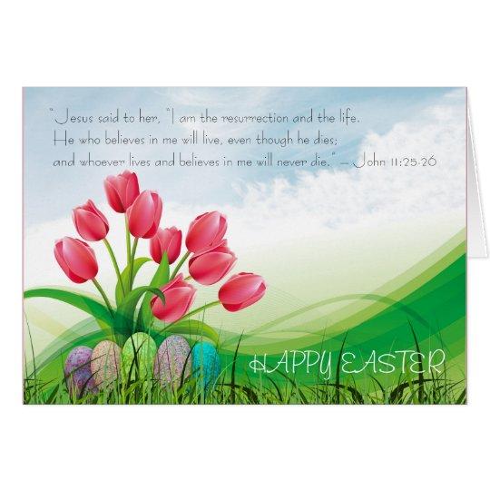 Tulipanes y nubes felices cristianos del verso de tarjeta de felicitación