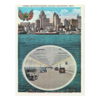 Túnel Windsor Ontario Detroit Michigan del vintage Postal