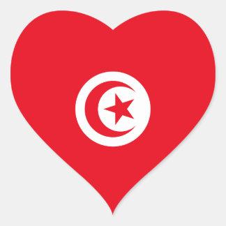 Túnez/bandera tunecina del corazón pegatina en forma de corazón