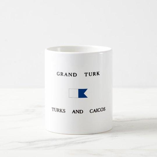 Turcos magníficos del turco y bandera alfa de la taza de café