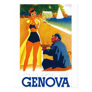 Turismo de Génova Italia del vintage Postal
