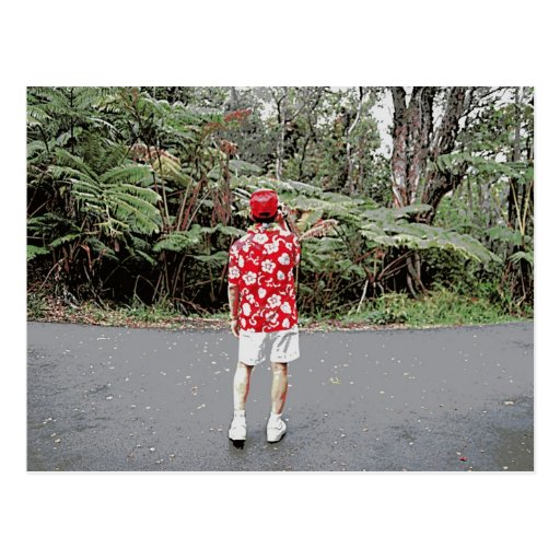 Turista en camisa hawaiana tarjeta postal