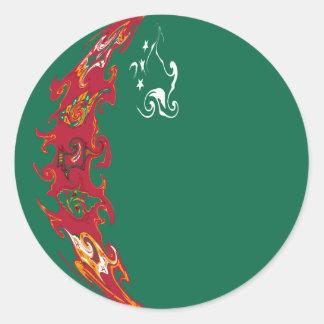 Turkmenistan Gnarly Flag Round Stickers