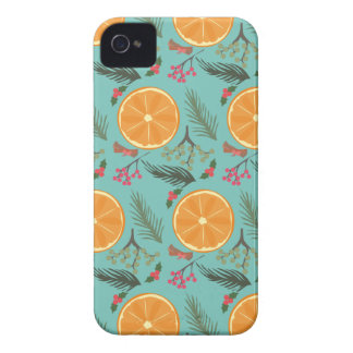Turquesa anaranjada de la guirnalda del navidad funda para iPhone 4 de Case-Mate
