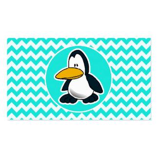 Turquesa, color Chevron de la aguamarina; Pingüino Tarjetas De Negocios