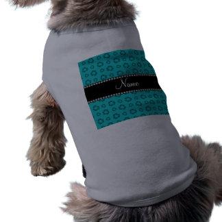 Turquesa conocida personalizada que recicla el camiseta sin mangas para perro