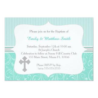 Turquesa de la cruz de la invitación del bautismo