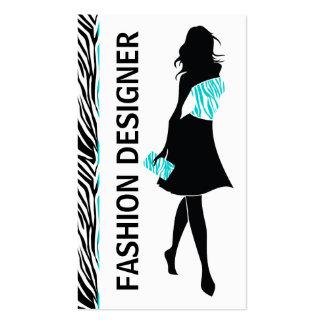 Turquesa del chica del diseñador de moda, tarjeta de visita