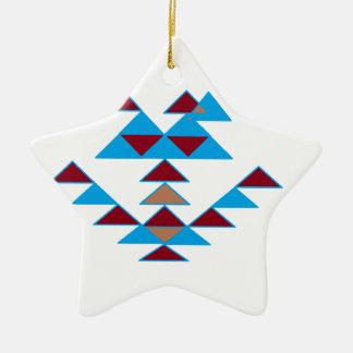 Turquesa del diseño del pájaro del triángulo y adorno de cerámica en forma de estrella