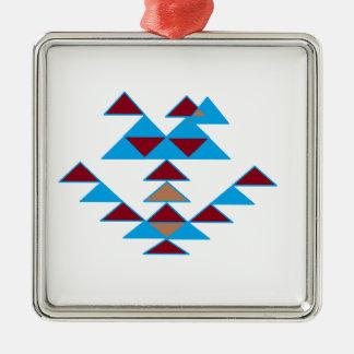 Turquesa del diseño del pájaro del triángulo y adorno cuadrado plateado