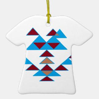 Turquesa del diseño del pájaro del triángulo y adorno de cerámica en forma de camiseta