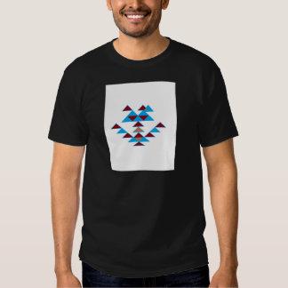 Turquesa del diseño del pájaro del triángulo y camiseta