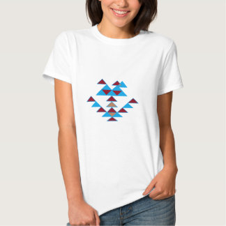 Turquesa del diseño del pájaro del triángulo y camisetas