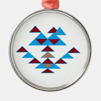 Turquesa del diseño del pájaro del triángulo y roj ornaments para arbol de navidad