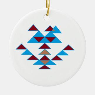 Turquesa del diseño del pájaro del triángulo y roj ornamentos de reyes
