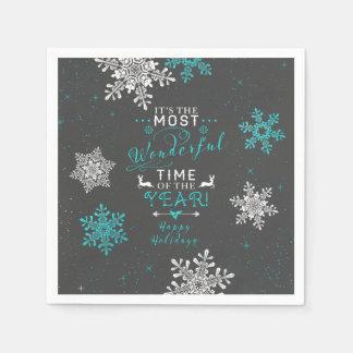 Turquesa del gris de Navidad del navidad de los Servilleta De Papel