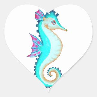 Turquesa del Seahorse Pegatina En Forma De Corazón
