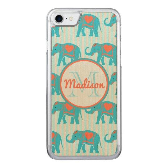 Turquesa del trullo, elefantes azules en nombre de funda para iPhone 7 de carved