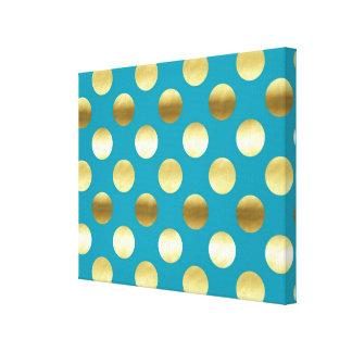 Turquesa elegante de los lunares de la hoja de oro impresión en lienzo