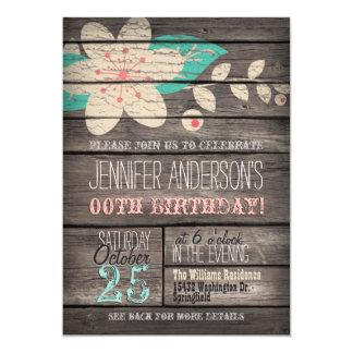 Turquesa, flor rosada, cumpleaños adolescente invitación 12,7 x 17,8 cm