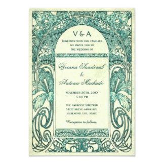 Turquesa floral de las invitaciones del boda del invitación 12,7 x 17,8 cm