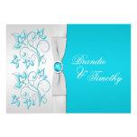 Turquesa IMPRESA de la CINTA, boda floral de plata