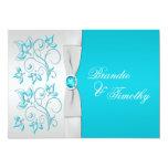 Turquesa IMPRESA de la CINTA, boda floral de plata Invitacion Personalizada