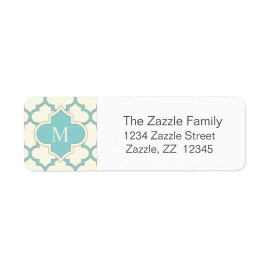 Turquesa moderna de la marfil del modelo de etiquetas de remite