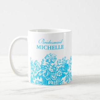 Turquesa nupcial de la cesta floral del favor de l tazas de café