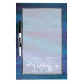 Turquesa púrpura azul del monograma enérgico de la pizarra blanca