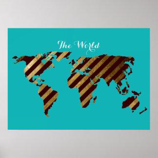 turquesa rayada del mapa