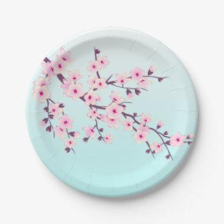 Turquesa rosada de las flores de cerezo plato de papel