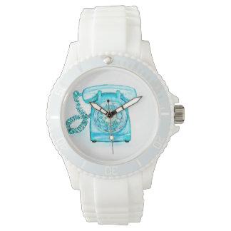 Turquesa rotatoria azul retra del reloj del
