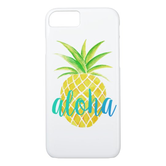 Turquesa tropical de la hawaiana de la acuarela de funda iPhone 7