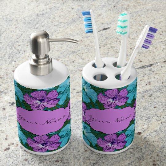Turquesa tropical y púrpura del hibisco vaso para cepillos de dientes
