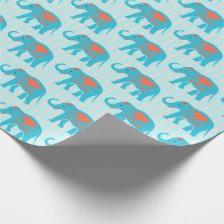 Turquesa verde azulada, elefantes azules, en rayas papel de regalo
