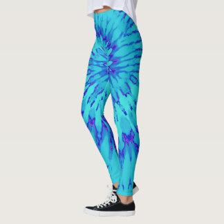 Turquesa y azul con el teñido anudado espiral leggings
