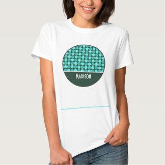 Turquesa y lunares verdes camisetas