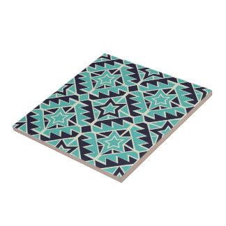 Turquesa y marina de guerra aztecas azulejo