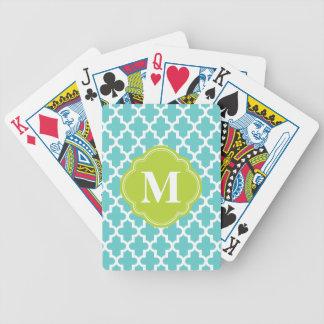 Turquesa y monograma de encargo marroquí moderno d baraja cartas de poker